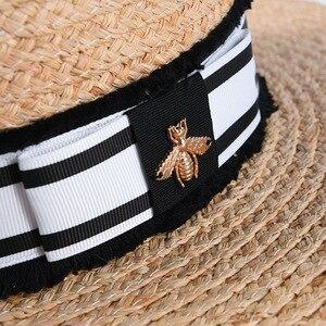 Image 2 - Mode Biene Sommer Sonne Hut Für Frauen Natürliche Bast Häkeln Stroh Hut Mit Band Flache Panama Hut Sommer Reise Strand hüte