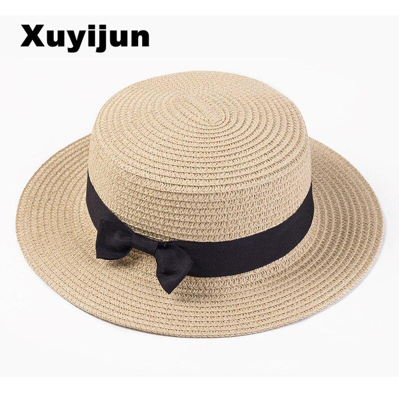 Xuyijun Dame Boater sun caps Band Round Flat Top Stroh strand hut Panama Hut sommerhüte für frauen strohhut snapback gorras