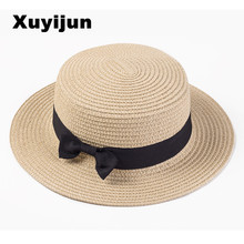 Lady Boater Summer Beach Ribbon Round Flat Top Straw Fedora Panama Hat summer hats for women straw hat chapeau femme chic black ribbon embellished summer straw hat for women