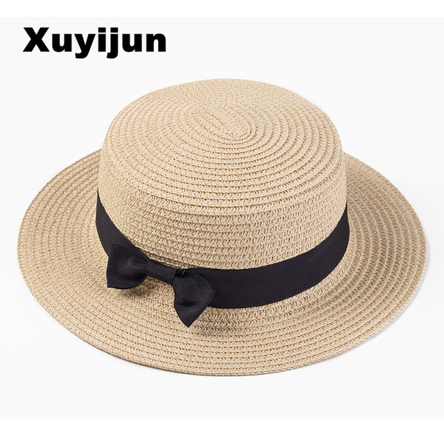 e34c6826202dd Xuyijun Lady Boater sun caps Ribbon Round Flat Top Straw beach hat Panama  Hat summer hats