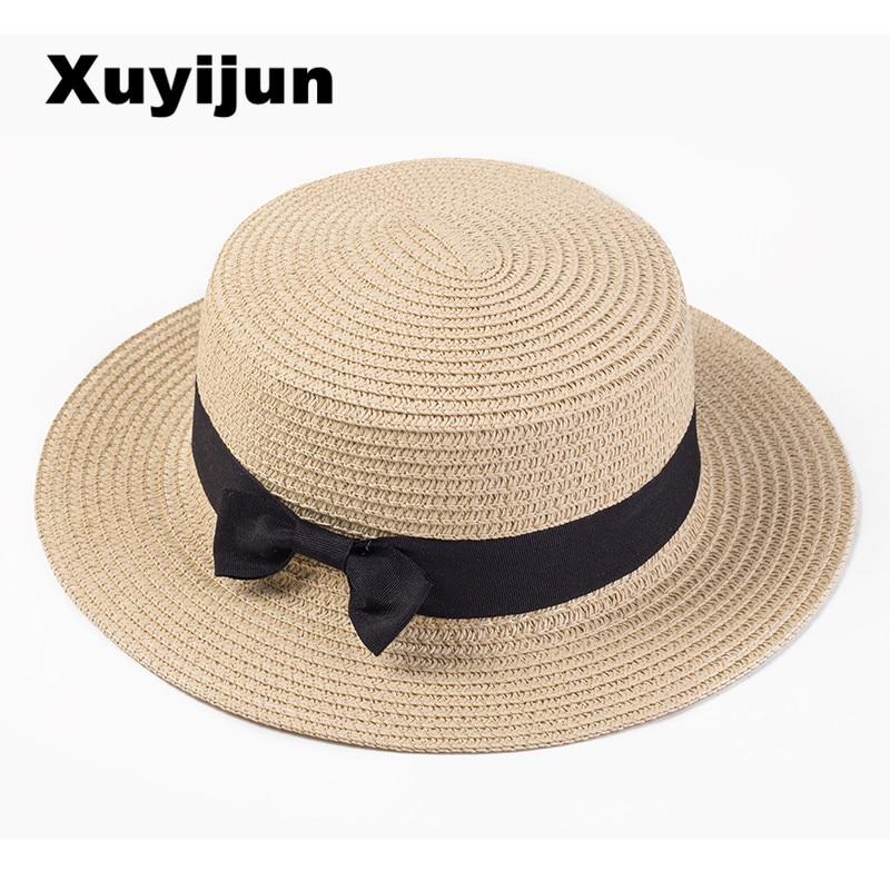 Xuyijun Lady Boater sun caps Ribbon Round Flat Top Straw beach hat Panama Hat summer hats for women straw hat snapback gorras