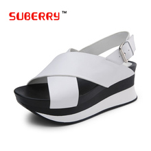 2016 New Summer Pep-Toe Woman Sandals Genuine Leather Platform Thick Heel Summer Women Shoes Fashion All Match Shoes For Ladies