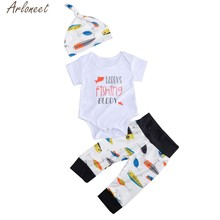 ARLONEET Newborn Kid Baby Girls Boys 3PCs Clothes Letter Romper +Pants Hat Outfits Set Soft Hand Feeling 19Apr10 P35(China)