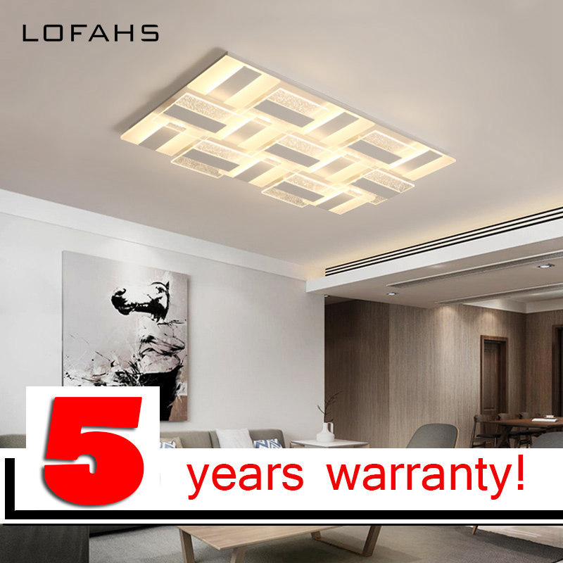 Işıklar ve Aydınlatma'ten Tavan Işıkları'de LOFAHS oturma yemek odası yatak odası için Modern LED tavan ışıkları uzaktan kumanda ile lüks dikdörtgen akrilik tavan lambası fixtur title=