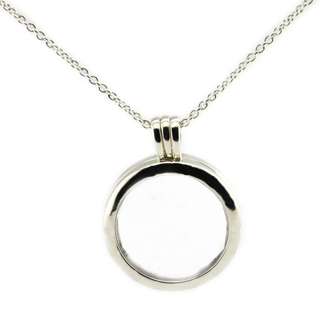 Large Floating Locket Pendant and Necklace 100% 925 Sterling Silver Fine Jewelry Free Shipping