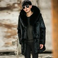 Real fur coats men genuine leather suede natural rabbit fur coat with hood fashion design thick fur winter jacket New Phoenix