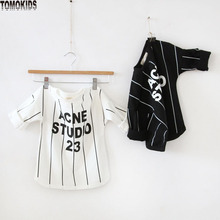 TomoKids boys and girls top simple vertical striped cotton  T-shirt  round neck long-sleeved children's clothing