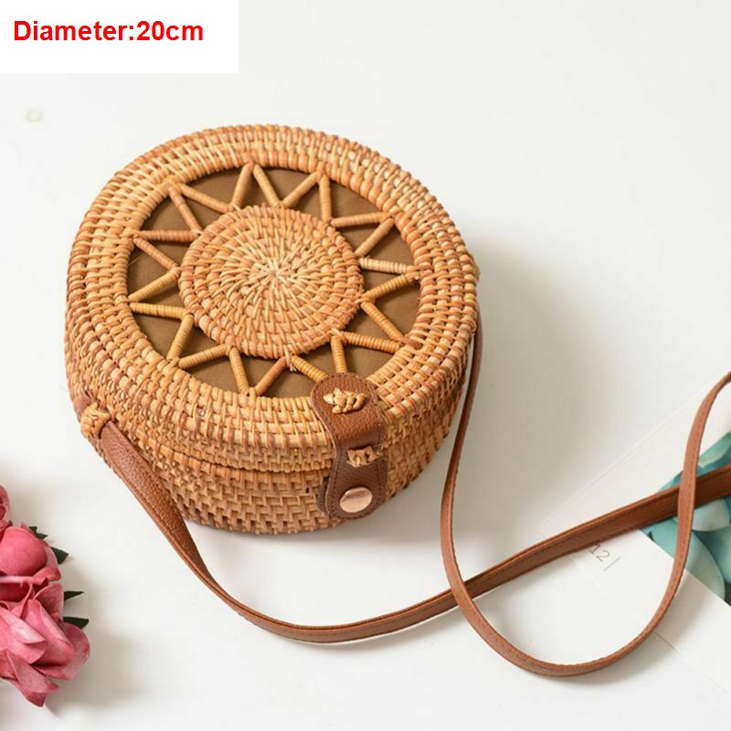 Women Boho Rattan Shoulder Bags  Handbag  2019 Fashion Summer Classic Crossbody(China)