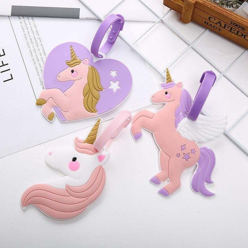 Travel Accessories Cute Pink Unicorn Suitcase Luggage Tag ID Address Holder Women Baggage Label Organizer Silica Ge Identifier