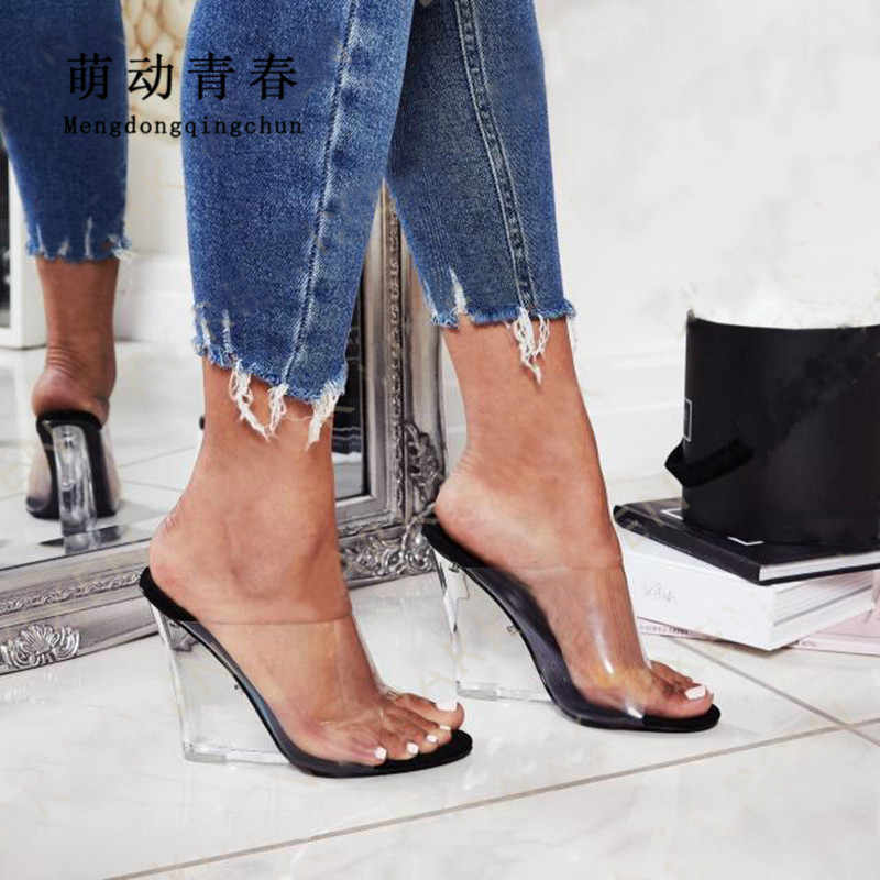 Size 35-40 Women Slippers Sandals Fashion Open Toe Slip on Outdoor Slippers Sexy Summer Crystal Heels Wedges Mules Dress Pumps