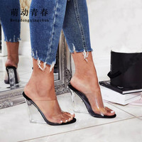 Size 35 40 Women Slippers Sandals Fashion Open Toe Slip on Outdoor Slippers Sexy Summer Crystal Heels Wedges Mules Dress Pumps