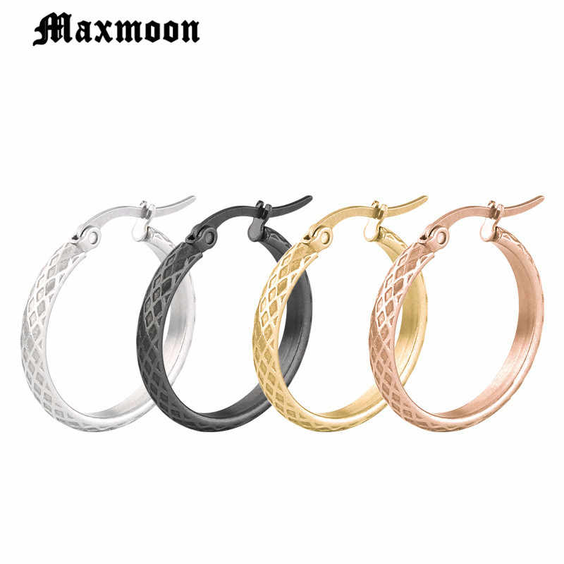 Maxmoon Rose Gold Color Circle Oversize Earring Set For Women Vintage Wide Statement Hoop Earring  Stainless Steel  Jewelry