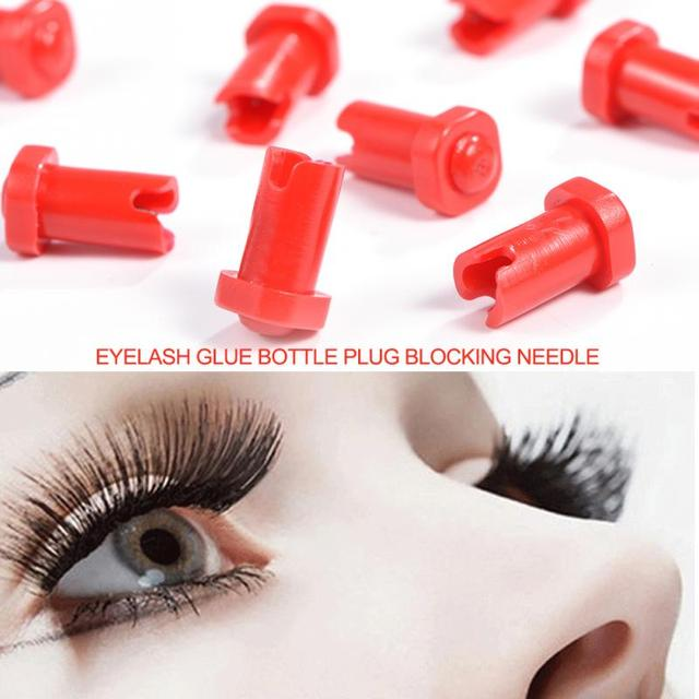 10pcs Eyelash Glue Bottle Plug Blocking Needle for Eyelash Extensions Tools Red False Fake Eye lashes Beauty Makeup Tool