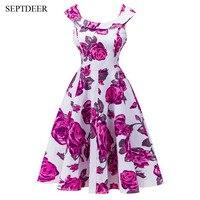 Europe And The United States Floral Print Sleeveless Retro Dress 50 S Vestidos De Formatura Curto