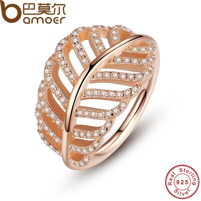 BAMOER 925 Sterling Silver Light As A Feather Rings