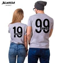 BLWHSA Desde 1999 Juntos Casal T Camisas Para Homens Amantes Casual Matching Casal Dos Namorados Roupa Engraçada Mulheres Cinza Tops tees