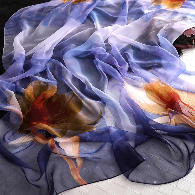 RUNMEIFA 2019 Nova Moda Primavera Lenço De Seda Para As Mulheres/Longo Macio Impressão Flor Envoltórios e Xales de Praia Feminino Hijab foulard