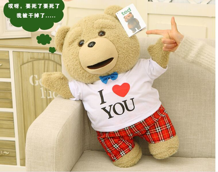 big cute plush teddy bear doll lovely love T-shirt Ted bear toy gift about 60cm new creative plush bear toy cute lying bow teddy bear doll gift about 50cm