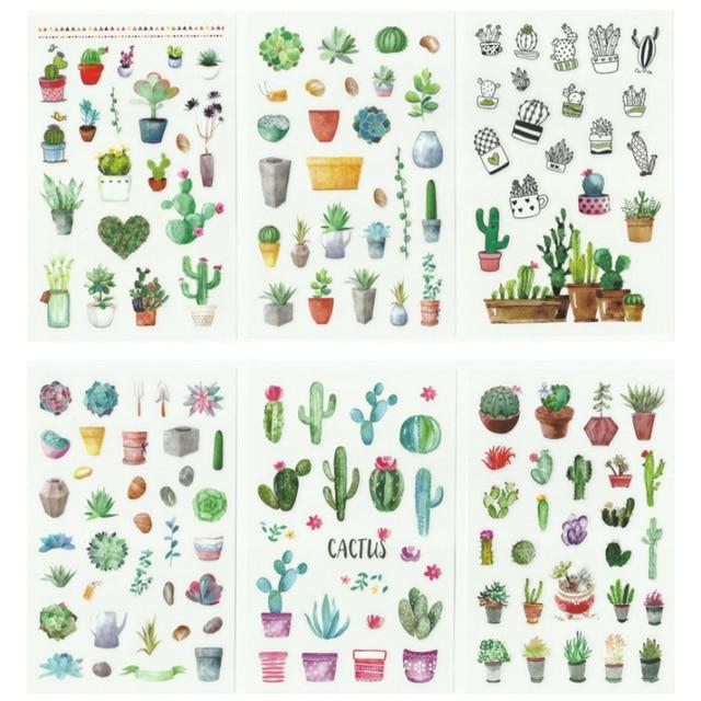 20Packs/Lot Leuke Cactus Bloem Serie Foto Scrapbooking Decoratie Sticker Zelfklevende Stok Label Groothandel