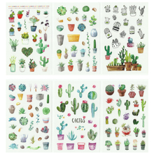20packs/lot cute cactus flower series photo scrapbooking decoration sticker self adhesive stick label wholesale