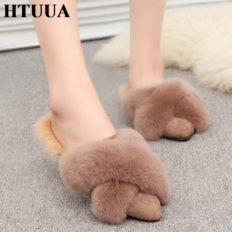 HTUUA Indoor Slippers Mules-Shoes Flat Slides Fluffy Woman Winter Plush Women Ladies