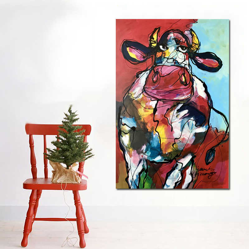 24a3d05ebb820 ... RELIABLI Andy Warhol Pop Art Colorful Cute Cow Painting Canvas Print  Wall Painting Abstract Decorative Art ...