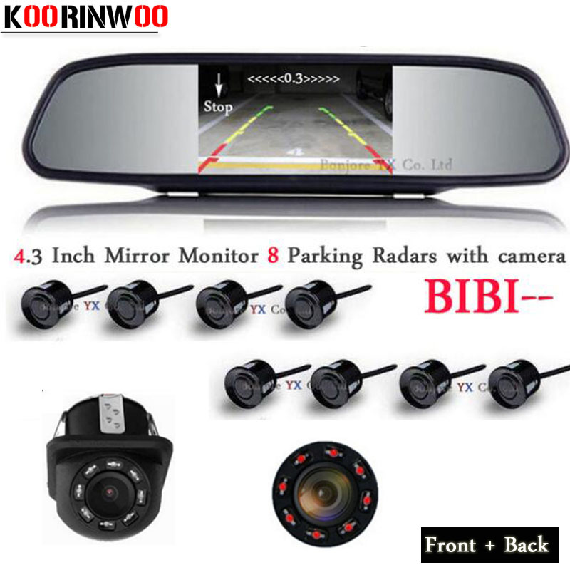 цена на Koorinwoo Car Parking Sensors 8 Radars Parktronic Video System + Monitor + Front Camera Car Rear view Camera Parking Assistance