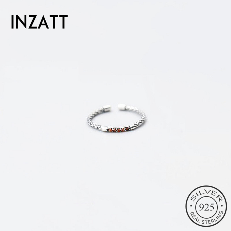 INZATT Minimalist Geometric Round Zircon Adjustable Ring Real 925 Sterling Silver Fine Jewelry Three Colors For Women Party Gift