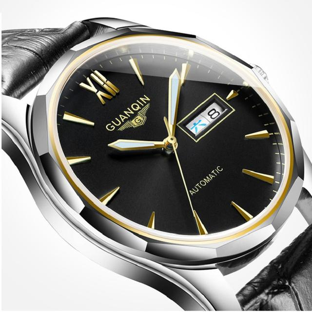 GUANQIN Automatic Mechanical Men Watch Tungsten Steel Luminous Watches Date Calendar Japanese Movement Watch with Leather Strap