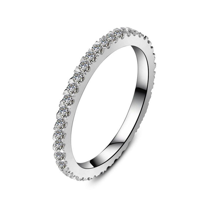 Genuine 0 55ct Bling Tiny Diamond Encrusted Diamond Band for Women White Gold Finish Solid Sterling