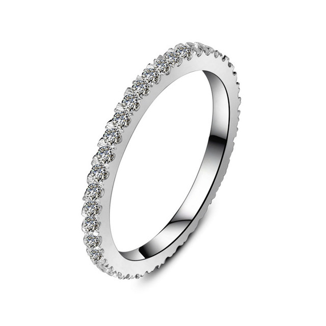 Genuine 0 55ct Bling Tiny Diamond Encrusted Band For Women White Gold Finish Solid Sterling
