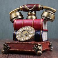 Estatuilla de teléfono Retro de resina hucha para decoración de cafetería KM88|Teléfonos decorativos| |  -
