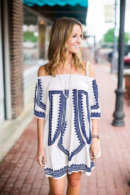 Off Shoulder Embroidery Vintage Dress