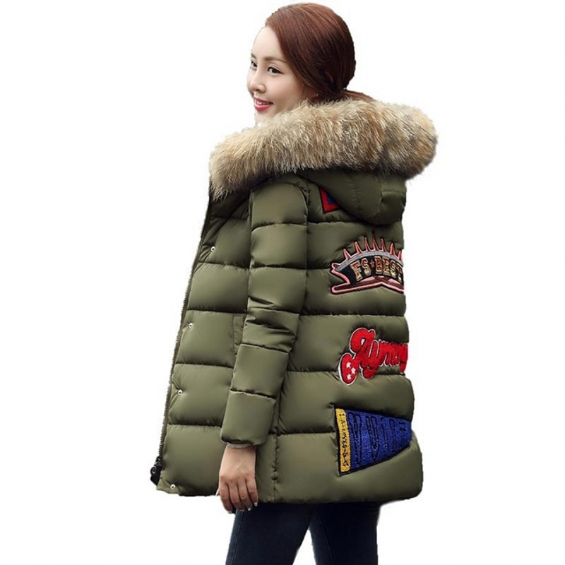 ФОТО Winter Women Parka 2017 Plus Size Women Jacket Coats Ladies Letter Print Cotton Jacket Fashion Female Outerwear Warm Parka