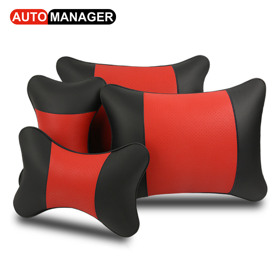 Leather Lumbar Support Cushion Car Back Massage Pillow & Headrest For Car Seat Office Chair Waist Support Pillows