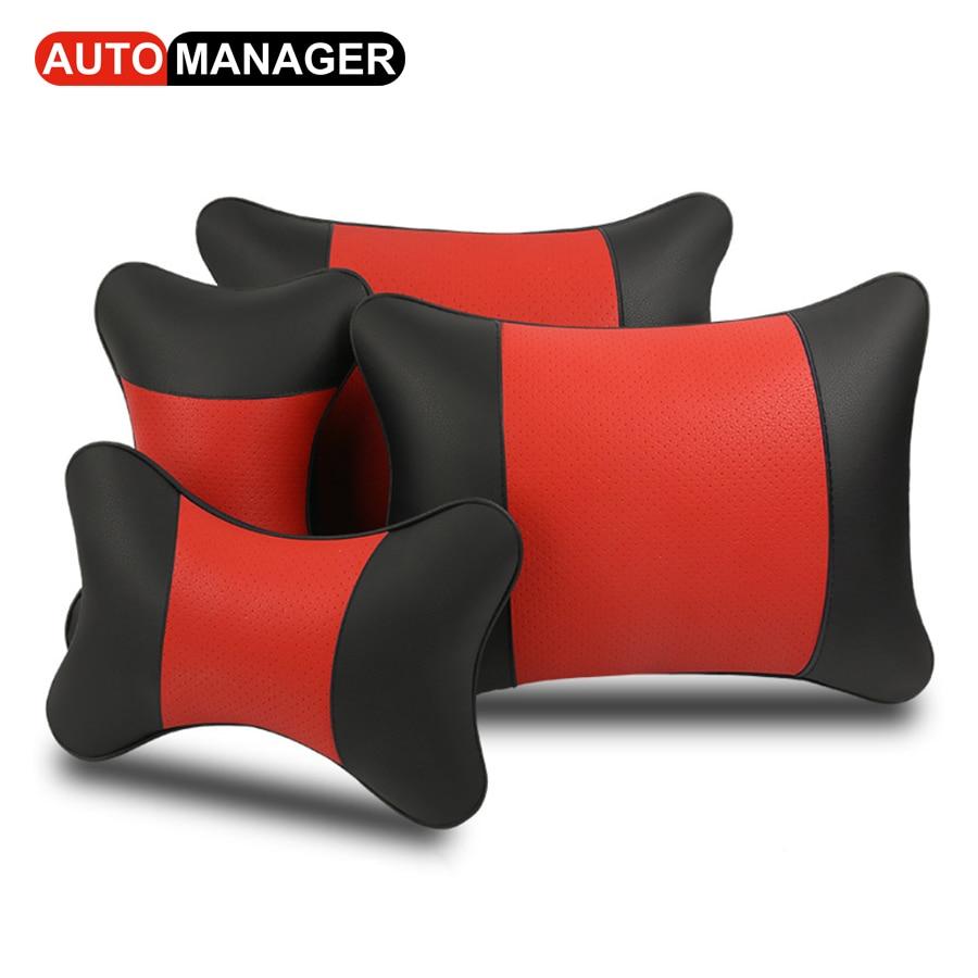 Leather Lumbar Support Cushion Car Back Massage Pillow & Headrest for Car Seat Office Chair Waist Support Pillows
