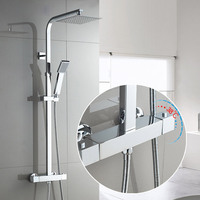 all copper thermostatic valve core square shower faucet set of 304 stainless steel shower spray cross border exclusively