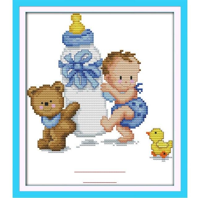 20*25 cm DIY mano Bordado kits contados Cruz puntada kit bebé de ...