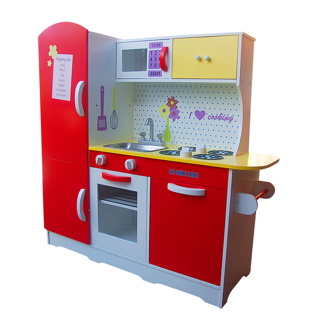 Toy Kitchen Red Super Size Wooden Play Pretend Chef Cook Toys Best Present