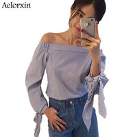 Women Blouse Elegant Bow Blue Off Shoulder Female Blouse Shirt Sexy Summer 2017 Girls White Blouse