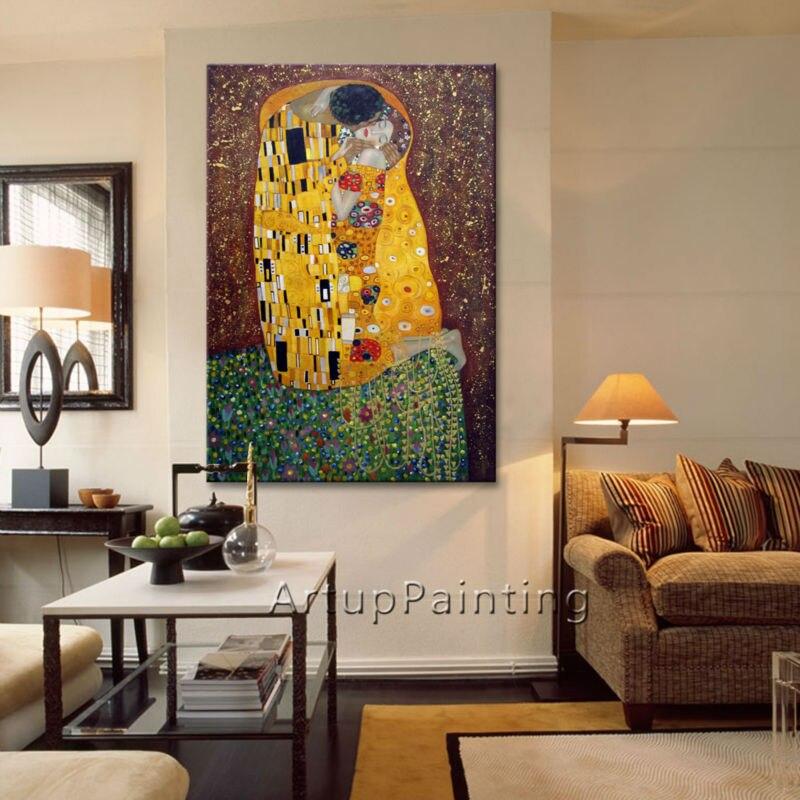 Gustav Klimt Olejomalba na plátně pro obývací pokoj Nástěnné umění Plátno ručně malované Ručně malované Kiss