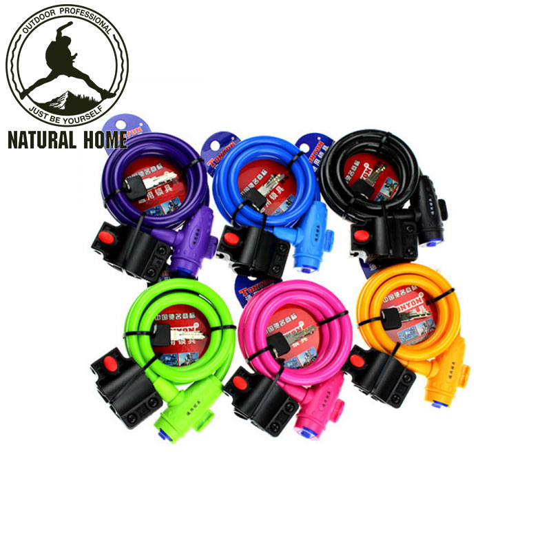 NaturalHome Bike <font><b>Lock</b></font> Anti-Theft Steel Strong Wire Coil <font><b>Cable</b></font> Bicycle Motorcycle Cycling Security <font><b>Lock</b></font> with 2 <font><b>Keys</b></font>