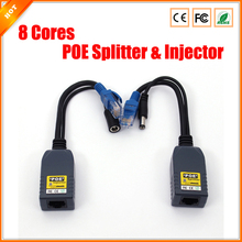 Free Shipping IP Camera Injector 8 Cores POE Splitter for Security System 1 pair