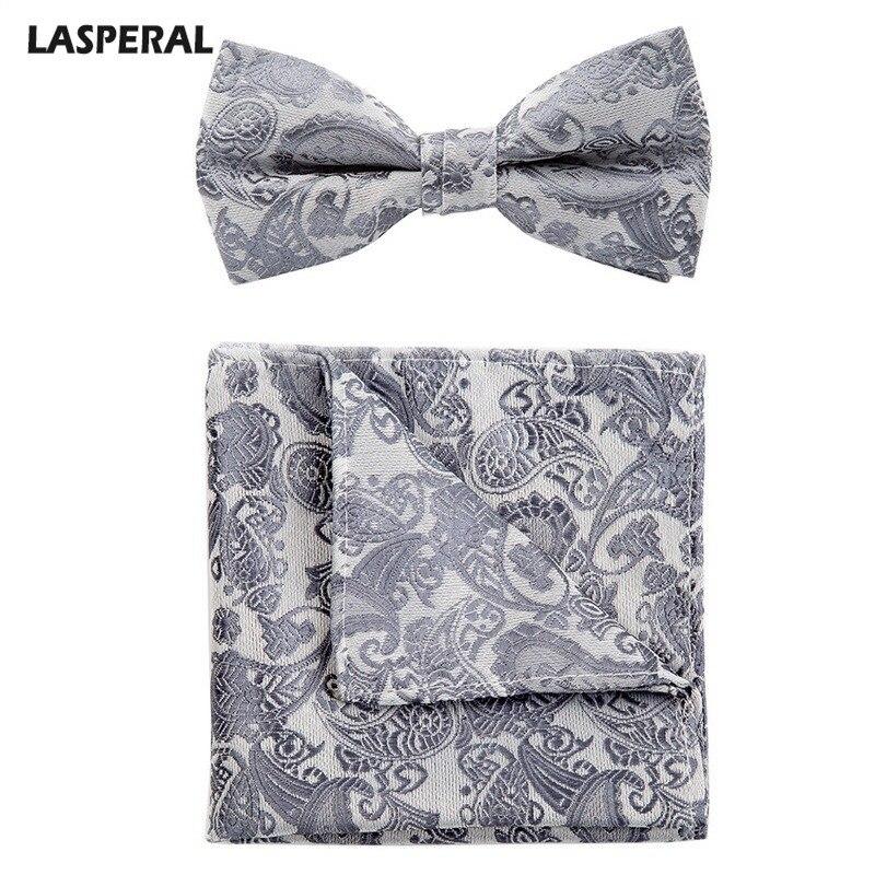 LASPERAL New Men's Bow Tie Pocket Set Combination Cashew Flower Square Towel Bow Set Wedding Groom Groomsmen Bow Ties Set