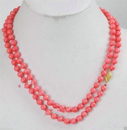 """Venta caliente nuevo Estilo>>>>> largo 32 """"6mm Japón Redondas de Color Rosa Coral Beads Necklace AAA Grado"""