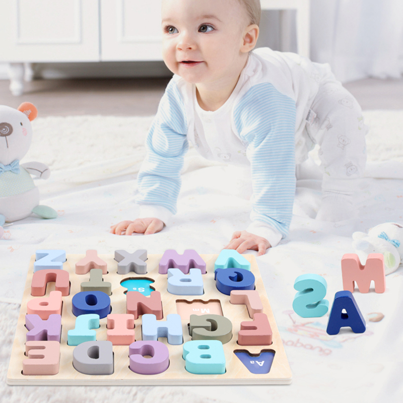 30*30CM Baby Kids Puzzles Wooden Toys Alphabet Digital Board Wooden Puzzles Kids Early Learning Educational Toys For Children