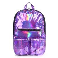 Women backpack 2017 backpack Women Silver Hologram Laser Backpack men's Bag leather Holographic travel bag Multicolor
