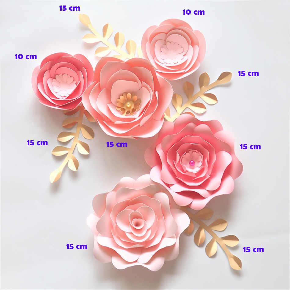 Handmade Cardstock Baby Pink Fleur Diy Paper Flowers Gold Leaves Set