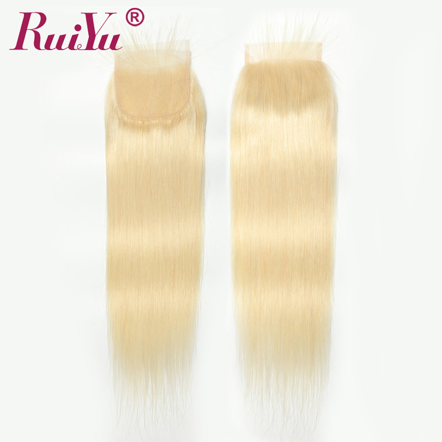 #613 Blonde Closure 4*4 Free/Middle/Three Part 100% Human Hair Closure Brazilian Straight Hair RUIYU Remy Swiss Lace Clousre image