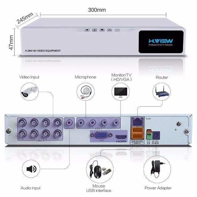 H.VIEW Security Camera System 8ch CCTV System 4 1080P CCTV Camera Video Surveillance Kit 8ch DVR Video Surveillance Outdoor 2